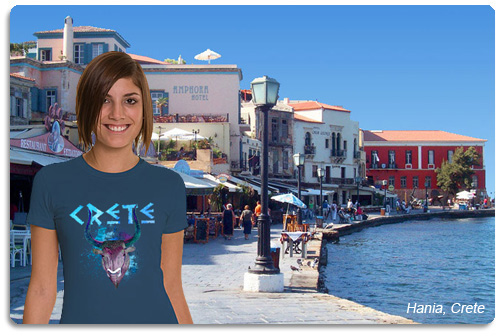 crete t shirt displayed on model with scenery
