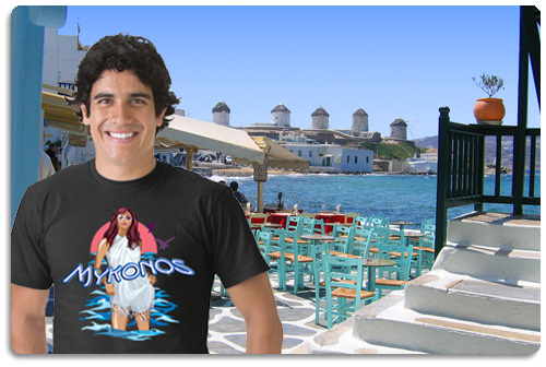 mykonos t shirt displayed on model with scenery