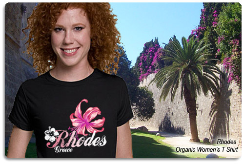 rhodes t shirt displayed on model with scenery