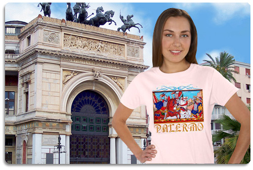 Palermo t shirt displayed on model with scenery