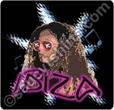 ibiza t shirt with club girl illustration