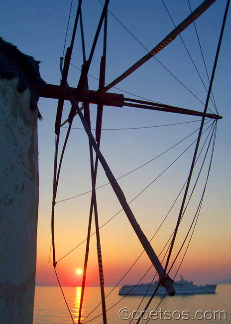 mykonos windmill at sunset