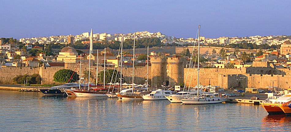 rhodes town greece with fortified walls